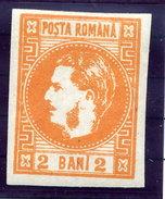 ROMANIA 1868 Carol I   2 Bani Orange LHM / *.  Michel  17 - 1858-1880 Moldavia & Principality