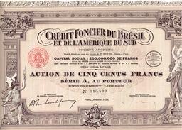 Action Ancienne - Crédit Foncier Du Brésil Et De L'Amérique Du Sud - Titre De 1928 - Banque & Assurance