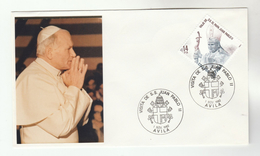 1982 SPAIN AVILA Special POPE  EVENT COVER - JOHN PAUL II VISIT,   Religion Christianity Stamps Heraldic - Popes