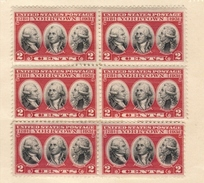 1931 US Block Of Six (6) Rochambeau,Washington,De Grasse Issue Mint-Light Hinge,OG VF - United States