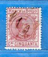 Marca Da Bollo A Tassa Fissa°.1905/26 C. 50 , Cat.Unif . N°37 .   Vedi Descrizione. - Usati