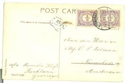 NEDERLAND HANDGESCHREVEN POSTKAART Uit 1913 Van GRONINGEN  Naar AMSTERDAM  * 2X  NVPH 50 (10.625F) - Periode 1891-1948 (Wilhelmina)