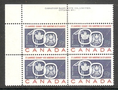 001215 Canada 1959 St Lawrence 5c Plate 1 Block UL MNH - Plate Number & Inscriptions