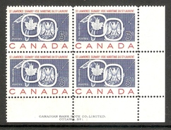 001216 Canada 1959 St Lawrence 5c Plate 1 Block LR MNH - Plate Number & Inscriptions
