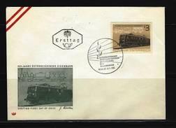 ÖSTERREICH - FDC Mi-Nr. 1126 -  125 Jahre Österr. Eisenbahnen Stempel WIEN (7) - FDC