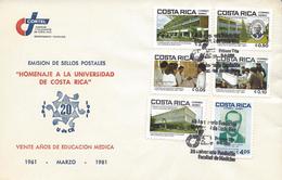 COSTA RICA UNIVERSITY UCR, MEDICAL EDUCATION, Sc C824-C829 FDC 1981 - Costa Rica