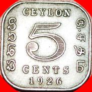 § QUADRANGULAR: CEYLON ★5  CENTS 1926! GEORGE V (1911-1936)! LOW START★ NO RESERVE! - Sri Lanka