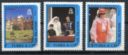 Turks And Caicos Islands, 1982, Royal Wedding, Lady Diana, Prince Charles, MNH, Michel 598, 599, 603 - Turks And Caicos