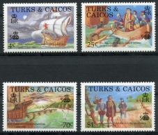 Turks And Caicos Islands, 1988, Discovery Of America, Columbus, Ships, MNH, Michel 801-804 - Turks And Caicos