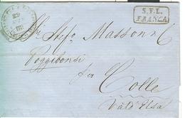 GRANDUCATO DI TOSCANA,LETTERA VIAGGIATA 29 MARZO 1859,LIVORNO-COLLE VAL D'ELSA,TIMBRO S.F.L. FRANCA-STRADA FERRATA LEOPO - Toscane