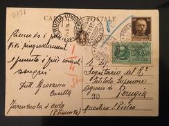 CARTOLINA ESPRESSO-FIORENZUOLA D'ARDA X PERUGIA-23-8-1934 - 1900-44 Victor Emmanuel III