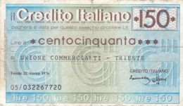 Italy, 150 Lire Unione Commercianti Trieste Credit Check 1976 Issue Currency - [10] Cheques En Mini-cheques
