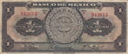 Mexico #28d 1 Peso Series F, C1930s/40s Issue Banknote Currency - Mexico