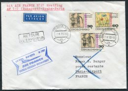 1970 Air France First Flight Cover Prague Praha - Paris - Airmail