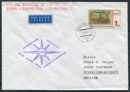 1970 CSA First Flight Cover Prague Praha - Brussels, Belgium - Airmail