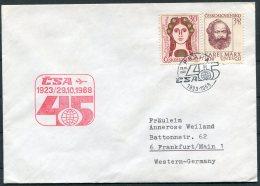 1968 CSA First Flight Cover Prague Praha - Frankfurt, Germany - Airmail