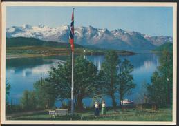 °°° 4426 - NORWAY - ORNES - HURTIGRUTEANLOPSSTED VED INNLOPET TIL GLOMFJORD - 1958 With Stamps °°° - Norvegia