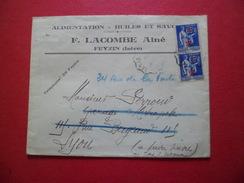 Lettre De Feyzin (Isère) Le 3/7/1941 à Lyon Avec Paire Du N°479 B/TB - Marcophilie (Lettres)