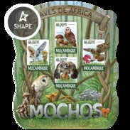 MOZAMBIQUE 2015 SHEET OWLS HIBOUX EULEN BUHOS CORUJAS BIRDS AVES PASSAROS UCCELLI OISEAUX MOCHOS Moz15222a - Mozambico