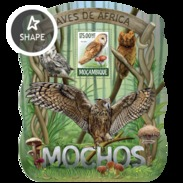 MOZAMBIQUE 2015 SHEET OWLS HIBOUX EULEN BUHOS CORUJAS BIRDS AVES PASSAROS UCCELLI OISEAUX MOCHOS Moz15222b - Mozambico