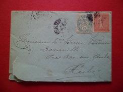 Lettre  De Belfort Le 9/12/1904 (arrondissement Subsistant Du Ht Rhin) à  Bar Sur Aube Le 9/12/1904 Les N° 111 &129 B/TB - 1877-1920: Semi-Moderne