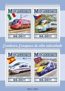 MOZAMBIQUE 2015 SHEET EUROPEAN SPEED TRAINS TRENES DE ALTA VELOCIDAD TRAINS GRANDE VITESSE Moz15308a - Mozambique