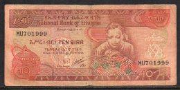 513-Ethiopie Billet De 10 Birr 1991 MU701 - Ethiopie