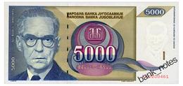 YUGOSLAVIA 5000 DINARA 1992 Pick 115 Unc - Yugoslavia