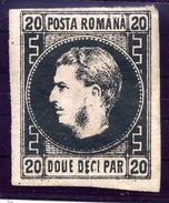 ROMANIA 1866 Prince Carol I 20 Para On Thin Paper, Type I  LHM / *.  Michel 16y - 1858-1880 Moldavia & Principality
