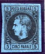 ROMANIA 1866 Prince Carol I 5 Para Indigo Shade On Thin Paper LHM / *.  Michel 15yb - 1858-1880 Moldavia & Principality