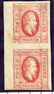 ROMANIA 1865 Prince Cuza 20 Para Vertical Pair LHM / *.  Michel 13x - 1858-1880 Moldavia & Principality