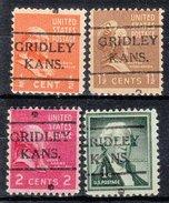 USA Precancel Vorausentwertung Preos Locals Kansas, Gridley 716, 4 Diff.