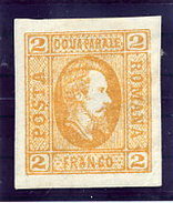 ROMANIA 1865 Prince Cuza 2 Para Orange On Vertically Laid Paper  LHM / *.  Michel 11ay - 1858-1880 Moldavia & Principality
