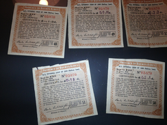 1909 Province Of Buenos Aires, Railway Loan, 5 Coupons - Chemin De Fer & Tramway