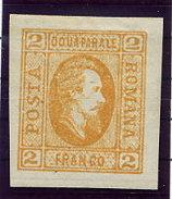 ROMANIA 1865 Prince Cuza 2 Para Orange On Ordinary Paper  LHM / *.  Michel 11ax - 1858-1880 Moldavia & Principality