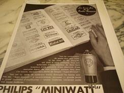 ANCIENNE PUBLICITE Philips Miniwatt 1933 - Advertising