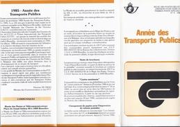 1 Dépliant De La Poste 1985 Avec 4 Timbres +  1 Feuillet 1985 Année Des Transport En Commun - Treinen