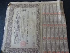 Compagnie De Navigation Sud Atlantique Part Bénéficiaire Au Porteur 1912 Dufour - Navigation