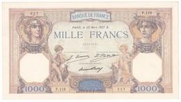 FRANCE : BILLET 1000 FRANCS CERES ET MERCURE Du 29-3-1927 - 1 épinglage, Non Aplati. (2 Scan) A1 - 1 000 F 1927-1940 ''Cérès Et Mercure''