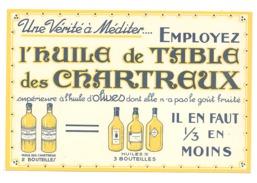 """Buvard Publicitaire """" Huile De Table Des Chartreux """" - Alimentaire"""