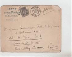 ENVELOPPE ILLUSTREE CAFE DE LA SOURCE PARIS 1900 POUR LONDRES  - TDA188C - Autres Collections