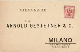 2561 MILANO ARNOLD GESTETNER & C. CIRCOLARE - 1900-44 Vittorio Emanuele III