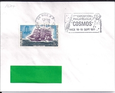 YT 1674 SSL FRANCE  OBL. NICE RP 4/9/71  FLAMME  1° EXPOPHIL COSMOS SEPT 71 - 1961-....