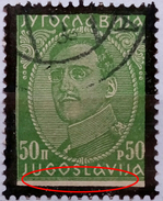 KING ALEXANDER-50 P-MEMORIAL-ERROR-YUGOSLAVIA-1934 - 1931-1941 Kingdom Of Yugoslavia