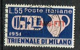 ITALY Trieste 1951 Milan Triennale Fair Used Stamp, Sassone 125 - Gebraucht