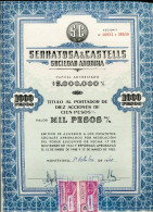 """URUGUAY ACCIONES SHAREHOLDING TITRES """"SERRATOSA & CASTELLS S.A"""" YEAR 1959 1000 PESOS STAMP TIMBRE TBE GECKO - Industrie"""