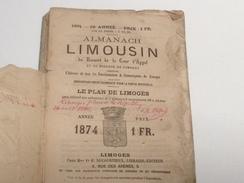 ALMANACH LIMOUSIN , 1874, Diocèse De Limoges,296 PAGES - Calendriers