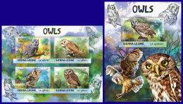 SIERRA LEONE 2017 ** Owls Eulen Hiboux M/S+S/S - IMPERFORATED - DH1717 - Eulenvögel