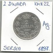 Gh7 Serbia 2 Dinara 1897. KM#22 Silver Ag. - Serbie