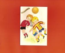 CARTE BRODEE . ENFANTS FOOTBALLEURS . FOOTBALL - Brodées